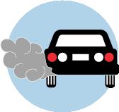 Une icône d'une voiture noire avec du gaz d'échappement.