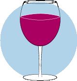 Une icône d'un verre rempli de vin rouge.