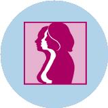 Une icône représentant le cancer du sein avec 3silhouettes de femmes de profil et le contour de leurs seins.