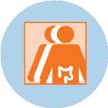 Une icône représentant le cancer colorectal avec 3silhouettes. La silhouette orange à l'avant-plan comporte un contour du gros intestin.