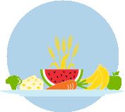 Une icône d'une assiette comportant des fruits et des légumes.