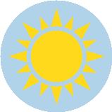 Une icône d'un soleil jaune.