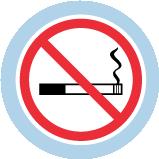 Une icône d'une cigarette allumée. Un cercle rouge traversé d'une ligne diagonale rouge indique une interdiction de fumer.