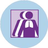 Une icône représentant le cancer du poumon avec 3silhouettes. La silhouette violette à l'avant-plan comporte un contour des poumons.