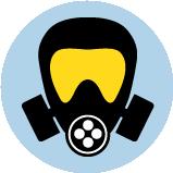 Une icône d'un masque de protection respiratoire.