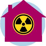 Une icône d'une maison avec le symbole de la radioactivité dans le milieu.