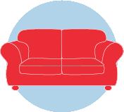 Une icône d'un canapé rouge.