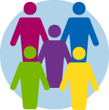 Une icône avec les silhouettes de 5personnes.