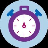 Une icône d'un chronomètre violet.
