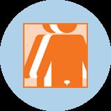 Une icône représentant le cancer de la vessie avec 3silhouettes. La silhouette orange à l'avant-plan comporte un contour de la vessie.