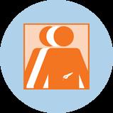Une icône représentant le cancer du pancréas avec 3silhouettes. La silhouette orange à l'avant-plan comporte un contour du pancréas.