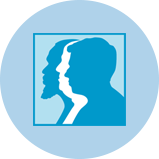 Une icône représentant le cancer de la prostate avec 3silhouettes d'hommes.