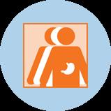 Une icône représentant le cancer de l'estomac avec 3silhouettes. La silhouette orange à l'avant-plan comporte un contour de l'estomac.