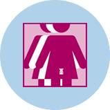 Une icône représentant le cancer du col de l'utérus avec 3silhouettes. La silhouette rose à l'avant-plan comporte un contour de l'utérus.